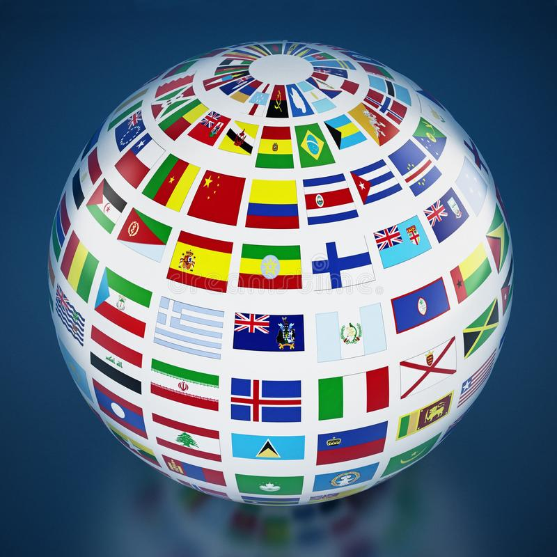 Country flags around the globe on blue background. 3D illustration stock illustration