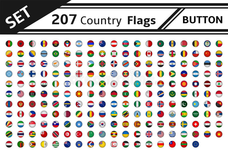 207 country flags button vector illustration