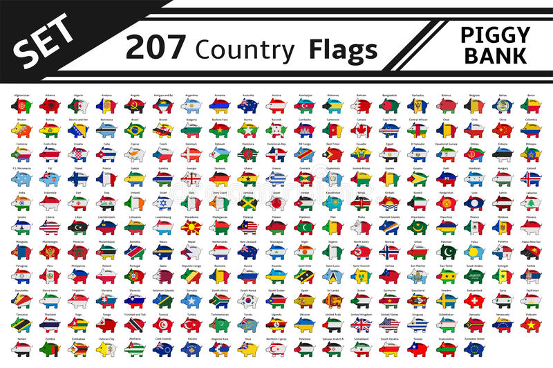 207 country flags piggy bank stock illustration
