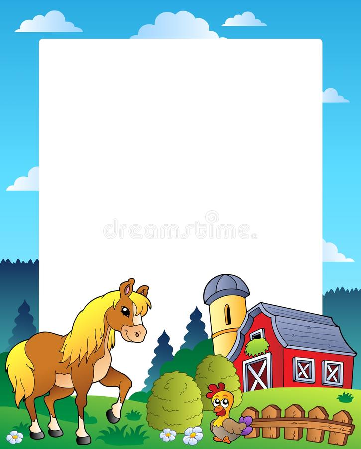 Country Frame With Red Barn 4 Royalty Free Stock Photo