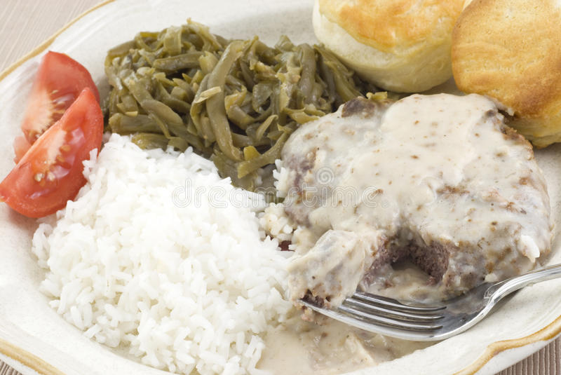 Country Fried Steak and Gravy Meal stock photo
