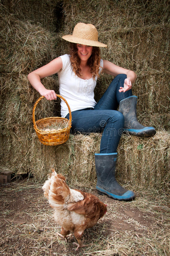 Country Girl with chook stock photography