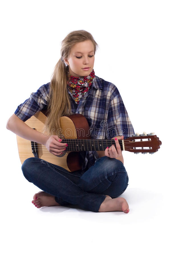 Country-girl With Guitar Stock Images