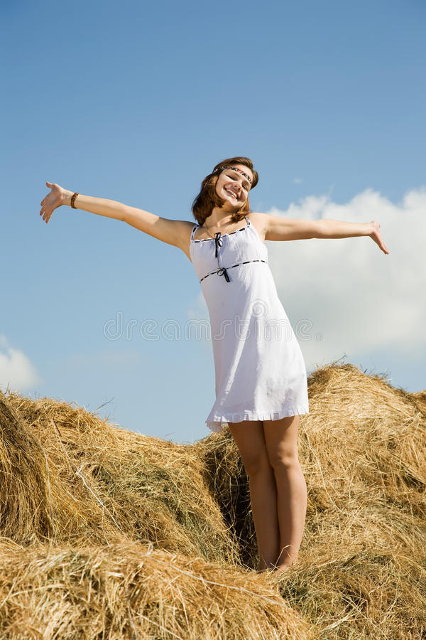 Download Country girl on  hay stock photo. Image of crop, model - 16088252