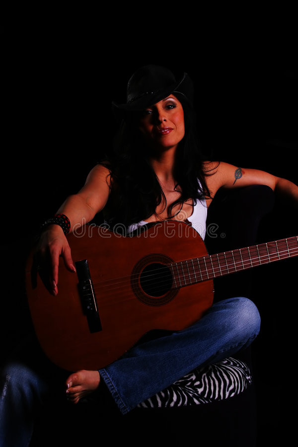 Download Country Girl Holding Guitar Stock Photo - Image: 2127626