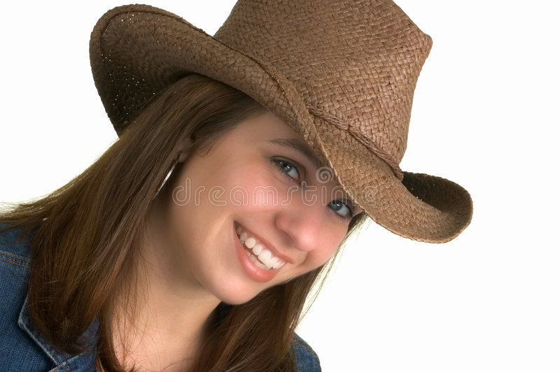 Country Girl Isolated,. Attractive Brunette In Cowboy Hat stock images