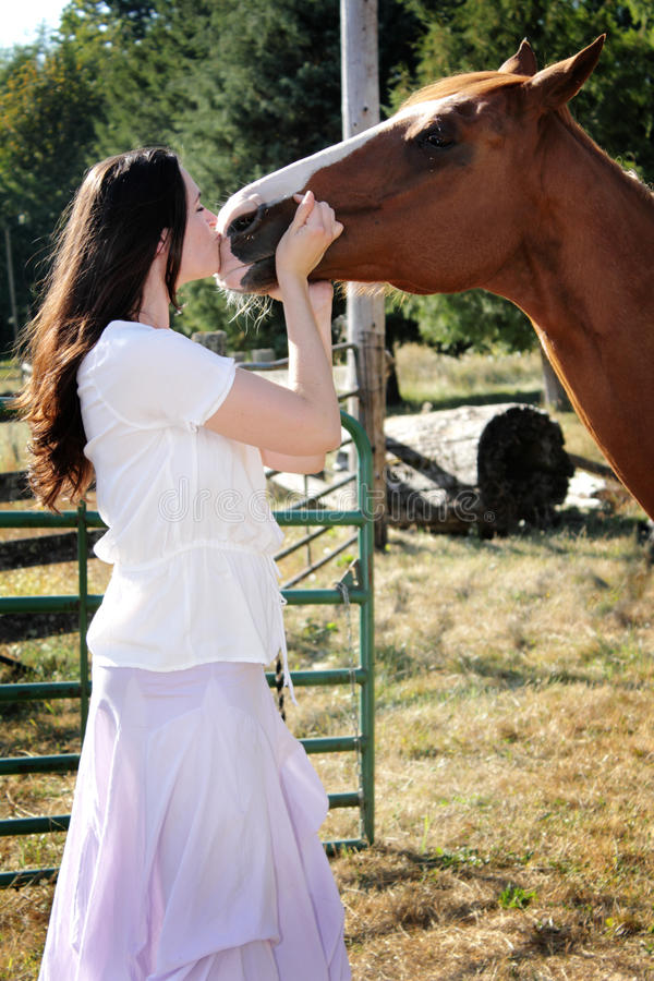 Download Country Girl Kisses Horse stock image. Image of kisses - 21110129