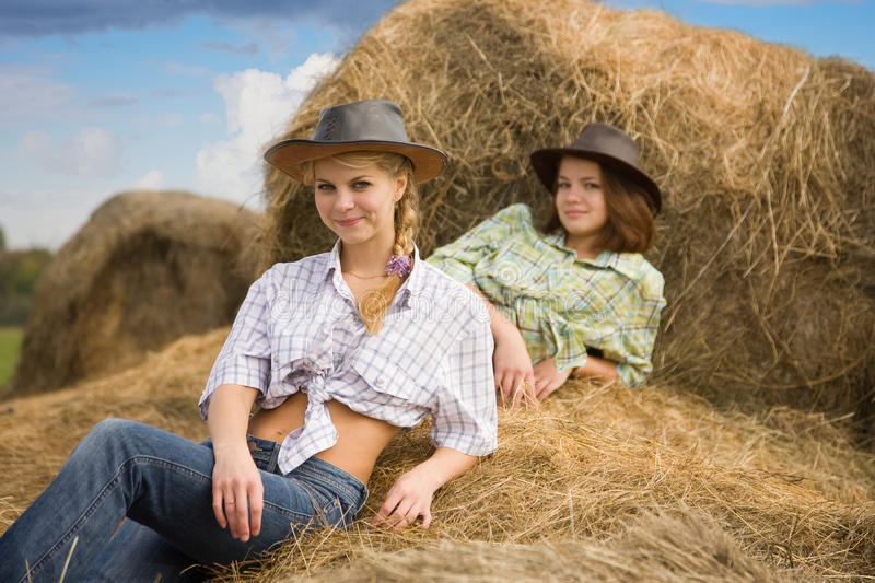 Download Country Girls Laying On Hay Stock Photo - Image: 17315940