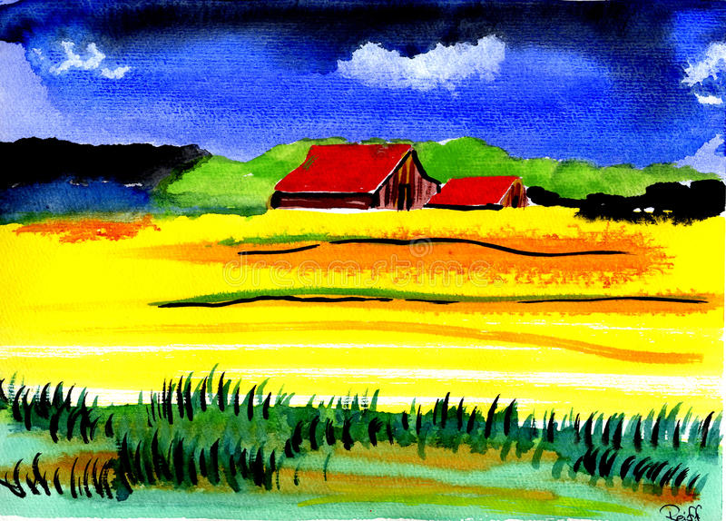 Country. Handpainted Watercolor, handgemaltes Aquarell, Impressionen royalty free illustration