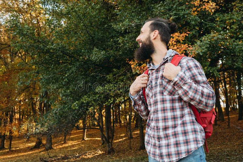 Country hiking trip happy male tourist forest stock photography