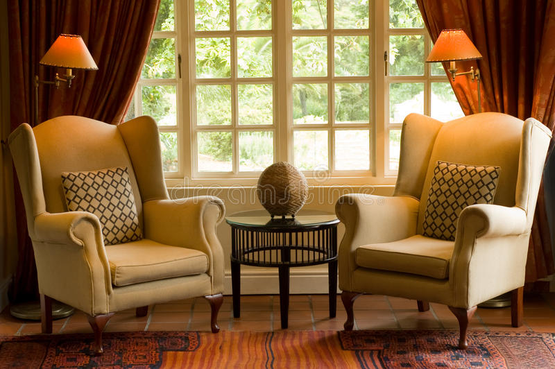 Country hotel lounge stock photography