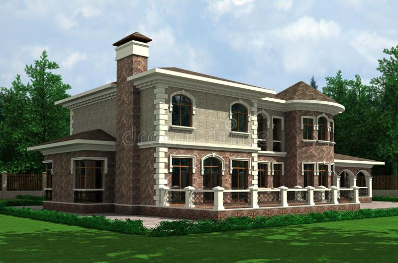 Download Country house stock illustration. Illustration of building - 12373730