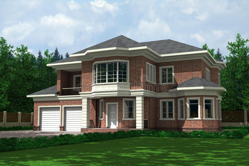 Country house. House on background wood, lawn before house vector illustration