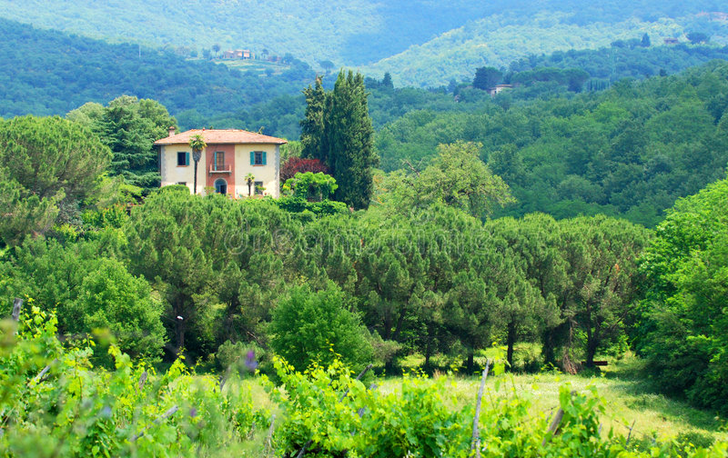 Country House. A country house atop a small hill, surrounded by greenery in Tuscany royalty free stock photos