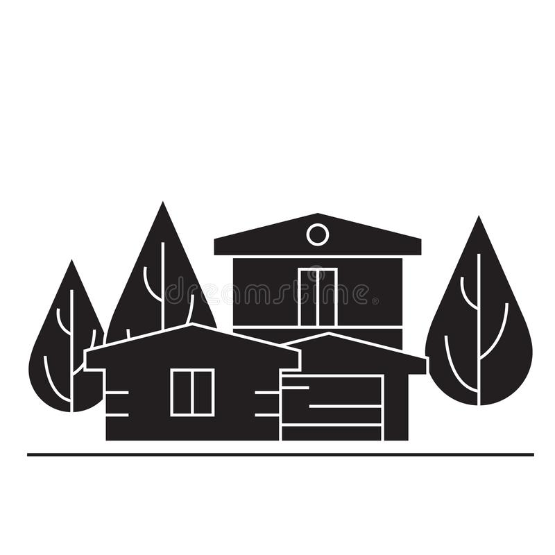 Country house black vector concept icon. Country house flat illustration, sign vector illustration