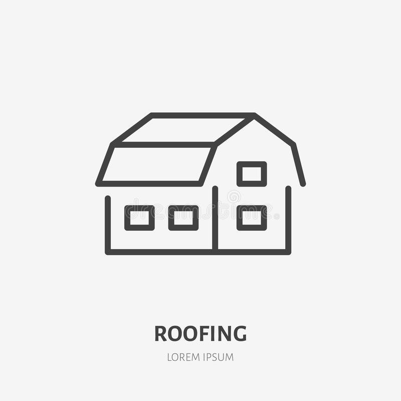 Country house flat line icon. Real estate sign. Thin linear logo for home repair services. Gambrel roof vector illustration