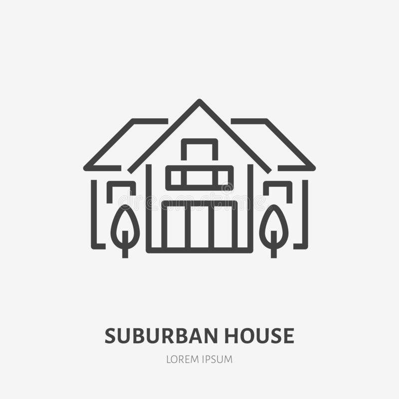 Country house flat line icon. Vector thin sign of summer cottage with trees, suburban property logo. Real estate rent vector illustration