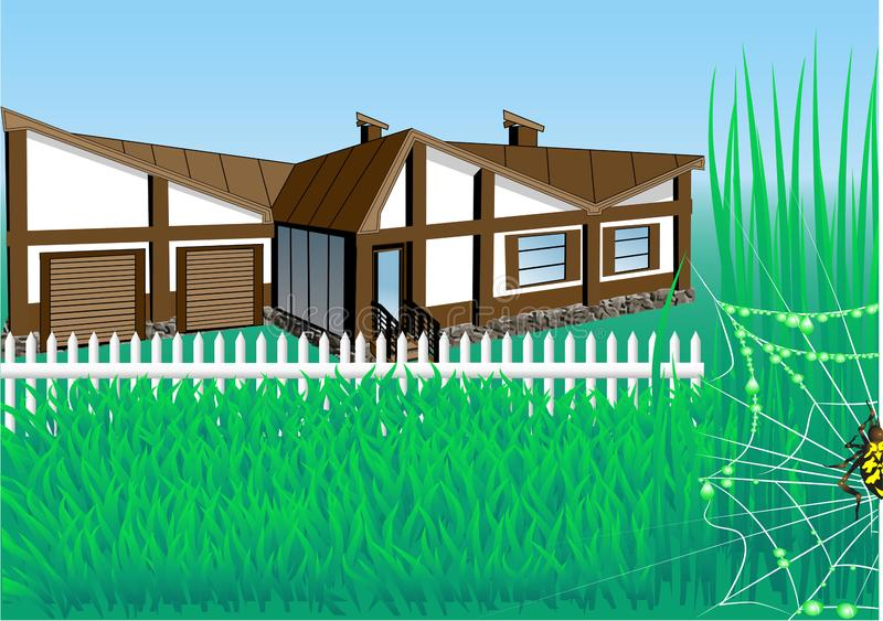 Country house with garden royalty free illustration