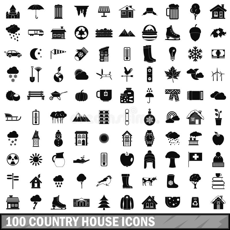 100 country house icons set, simple style royalty free illustration