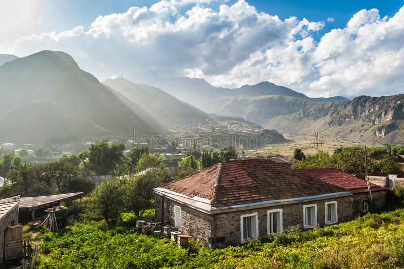 A country house in Kazbegi - Georgia royalty free stock image