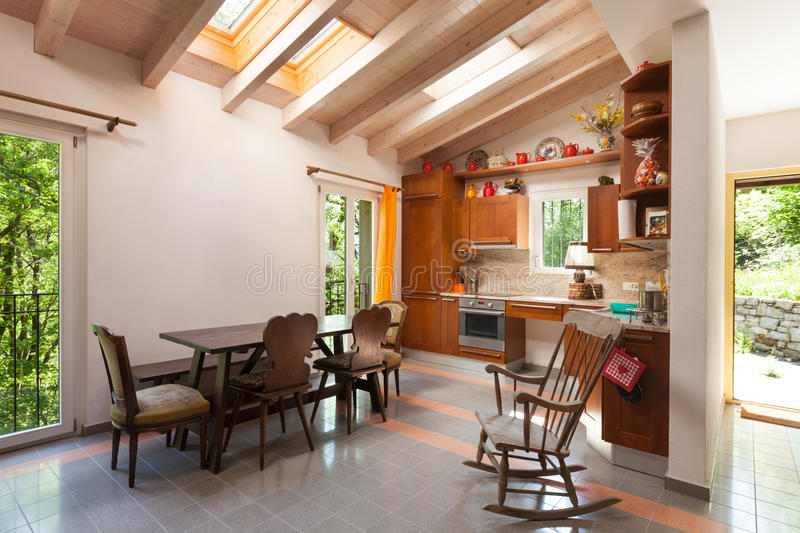Country house, kitchen. Architecture, interior of a country house, domestic kitchen stock photo