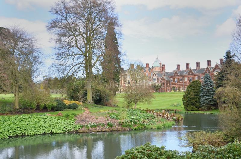 Country house in large formal gardens. Country house in large formal garden stock photo