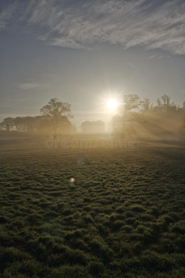 Country house in morning frost. And mist with a low sun. Portrait winter royalty free stock photo