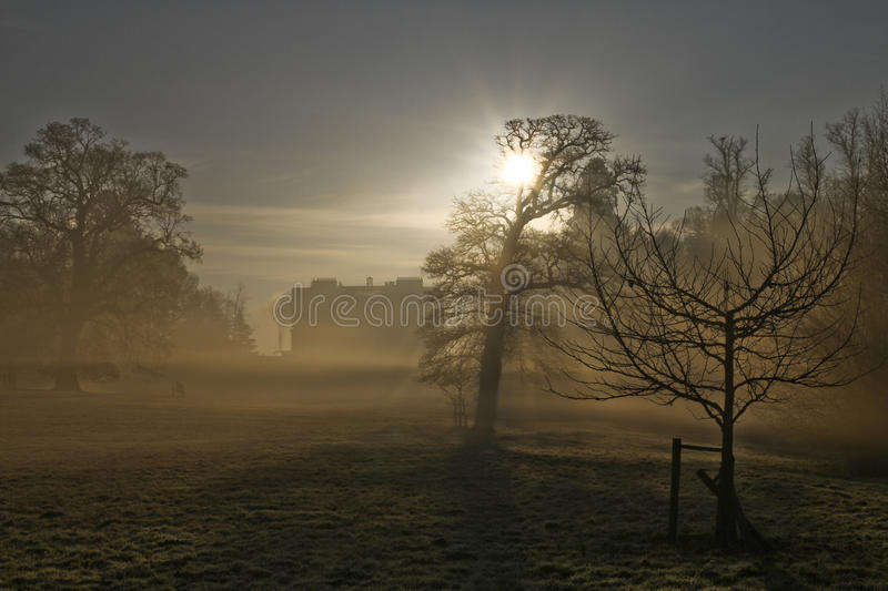 Country house in morning frost. And mist with a low sun. Silhouette of trees royalty free stock image