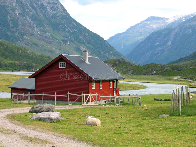 Country house in Norway. Country house in a remote village in a valley in the Norwegean mountains royalty free stock images