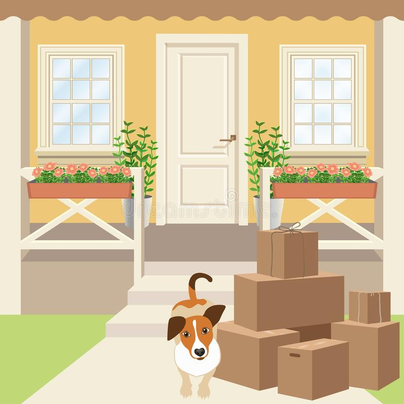 Country house porch with panel door, windows and plants. Driveway, cardboard boxes and puppy dog. House porch with panel door and windows. Driveway, grass lawn stock illustration