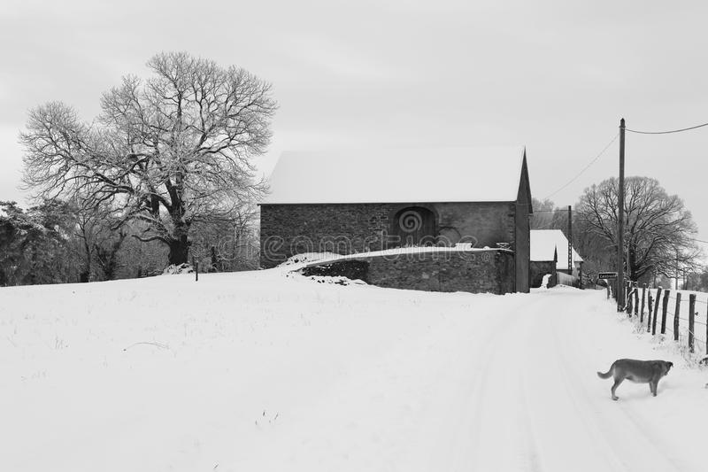 Country house in snow stock photo
