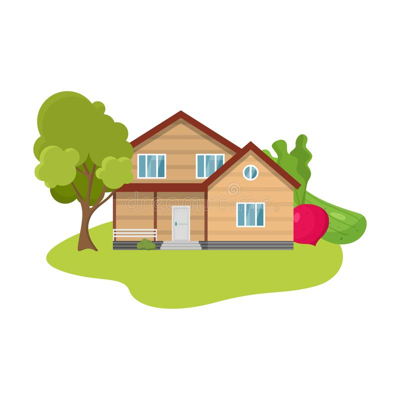 Country house surrounded by trees and local produce vector illustration. Hand drawn wooden country house surrounded by trees and local produce in summer over stock illustration