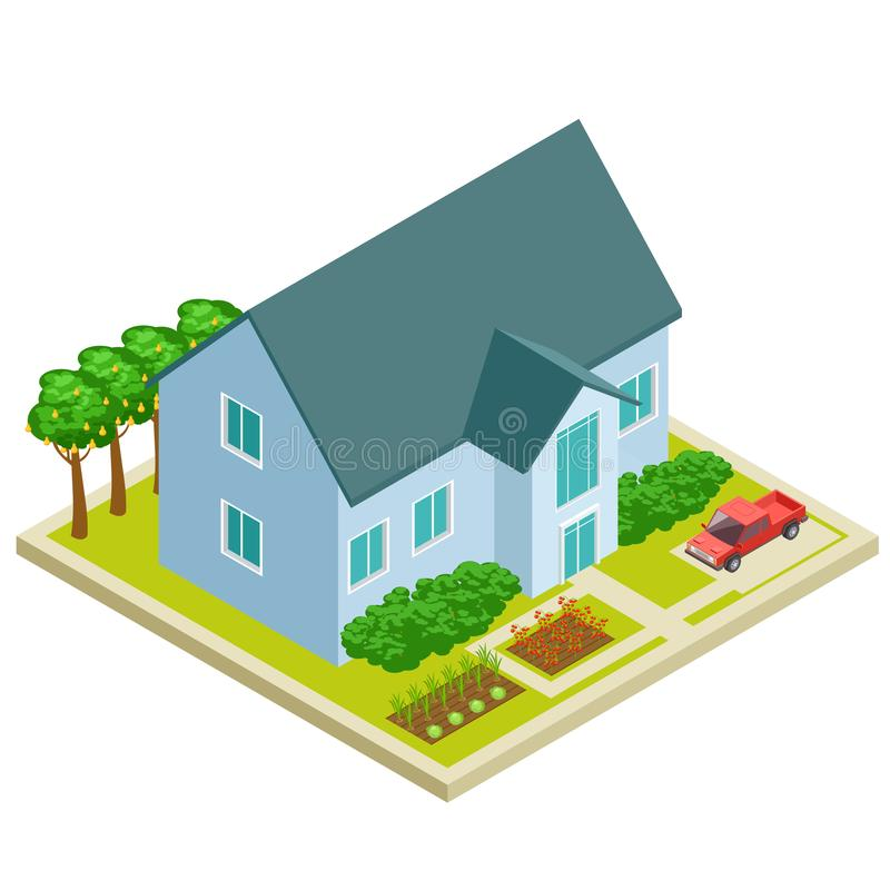 Country house with vegetable and fruit garden isometric vectot design vector illustration