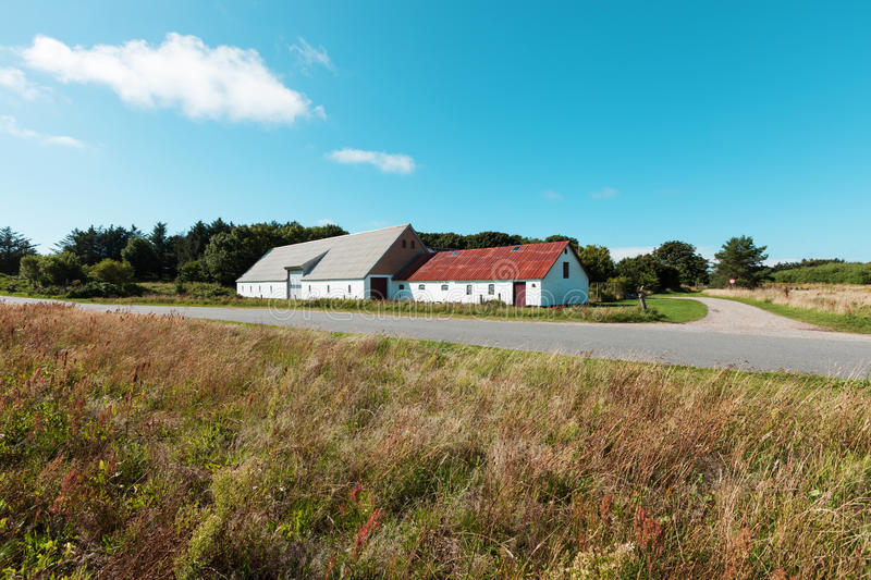 Country house with warehouse in Denmark royalty free stock image