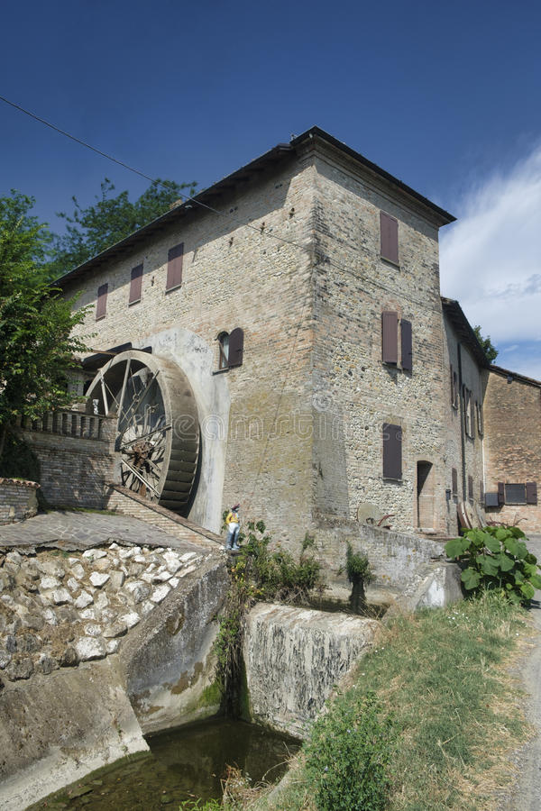 Country house with watermill near Castell`Arquato royalty free stock photos