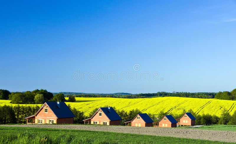 Country houses landscape stock photos