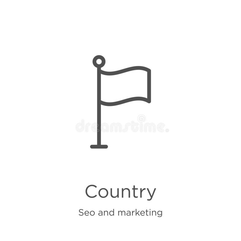 Country icon vector from seo and marketing collection. Thin line country outline icon vector illustration. Outline, thin line. Country icon. Element of seo and royalty free illustration