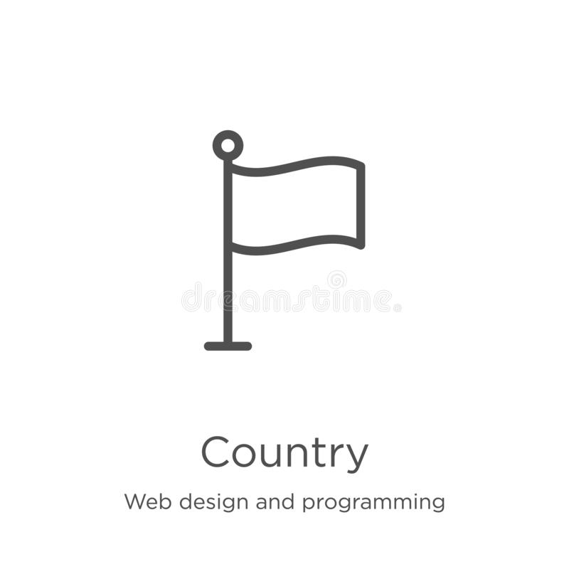 Country icon vector from web design and programming collection. Thin line country outline icon vector illustration. Outline, thin. Country icon. Element of web vector illustration