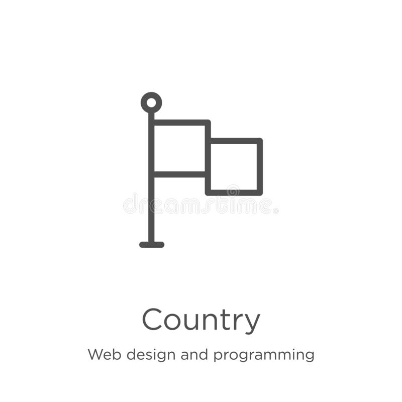 Country icon vector from web design and programming collection. Thin line country outline icon vector illustration. Outline, thin. Country icon. Element of web royalty free illustration