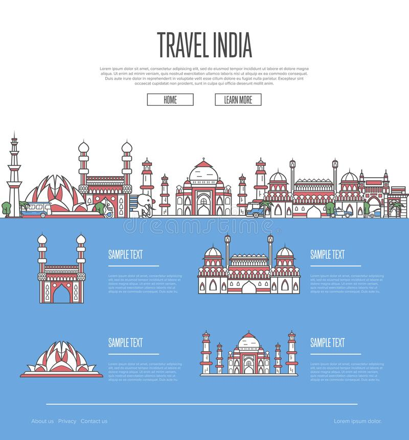 Country India travel vacation guide. With most important architectural attractions in trendy linear style. Indian skyline with national famous landmarks royalty free illustration