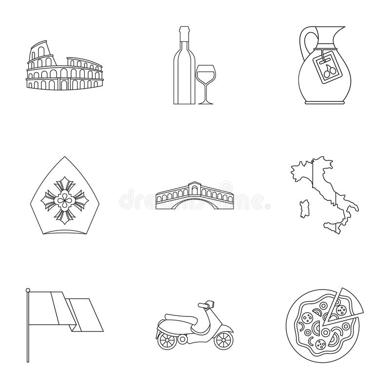 Country Italy icons set, outline style royalty free illustration