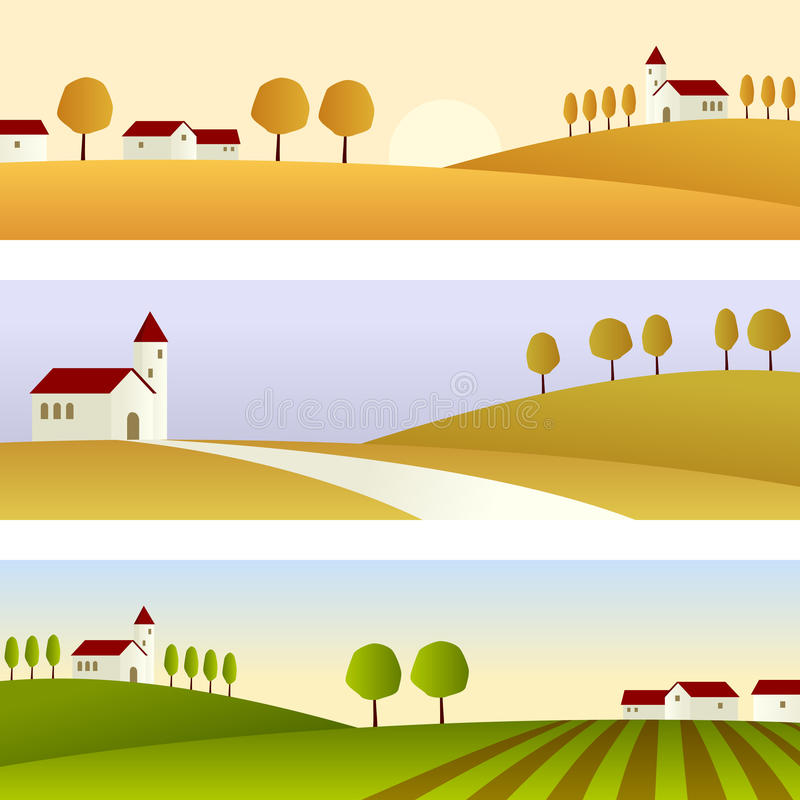 Country Landscape Banners stock illustration