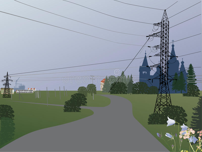Download Country Landscape With Electric Line Stock Vector - Image: 15547695