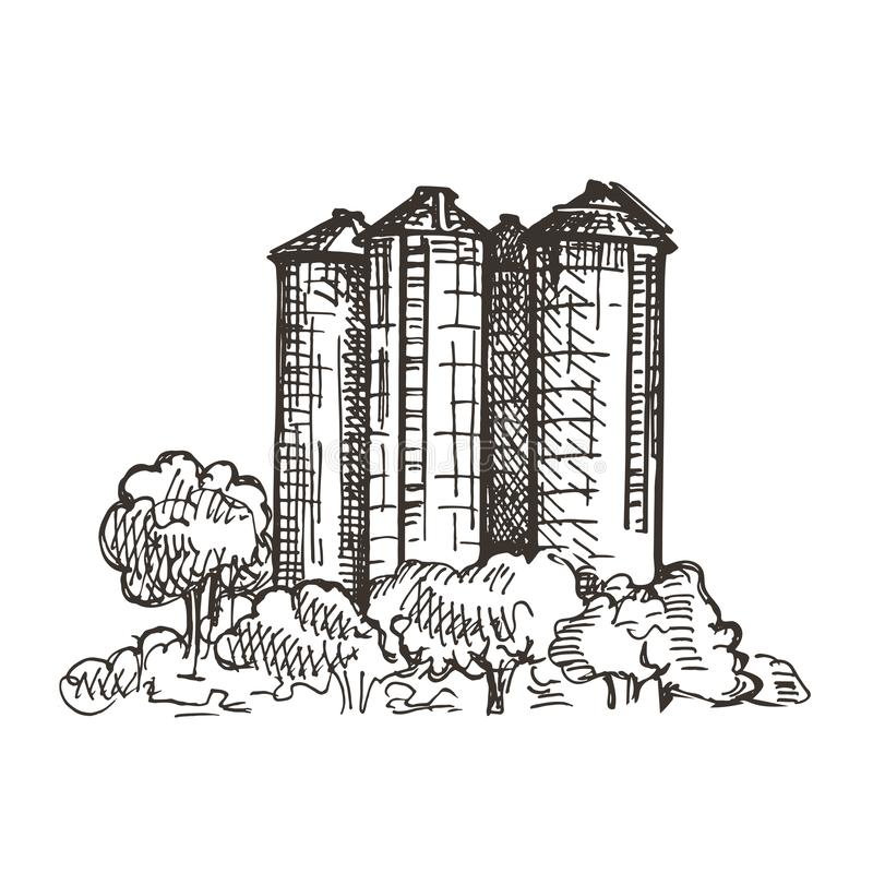 Country landscape with grain elevator. Sketch graphics. stock illustration
