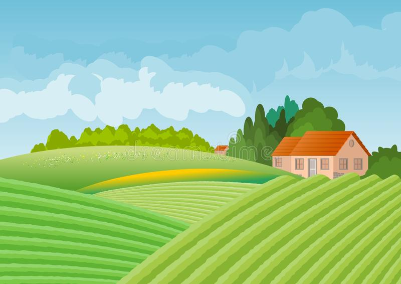 Country landscape with house surrounded by grove. In the foreground cultivated fields. Illustration.Digital art royalty free illustration