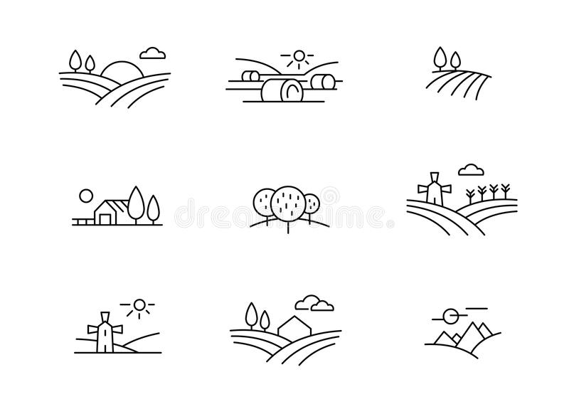 Country landscape icons, vector thin line style royalty free illustration