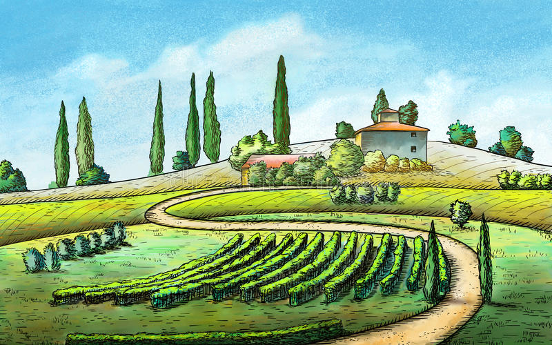 Country landscape. Italian country landscape. Original digital painting stock illustration