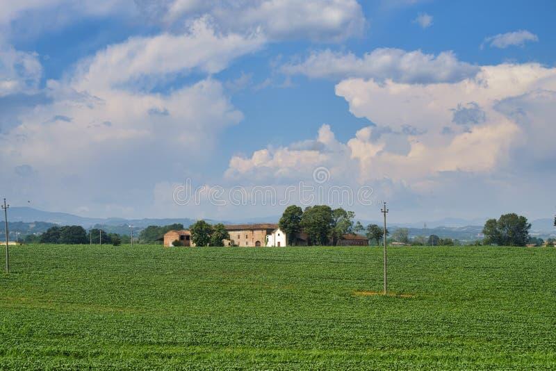 Country landscape near Castell`Arquato stock photos