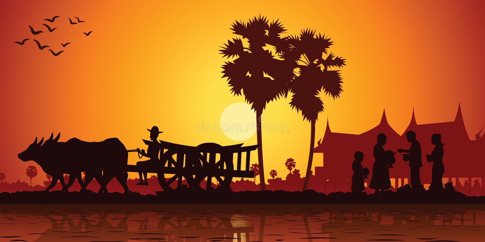Country life of Asia farmer ride cart to go to do work while monk receive food on sunrise time,silhouette style vector illustration