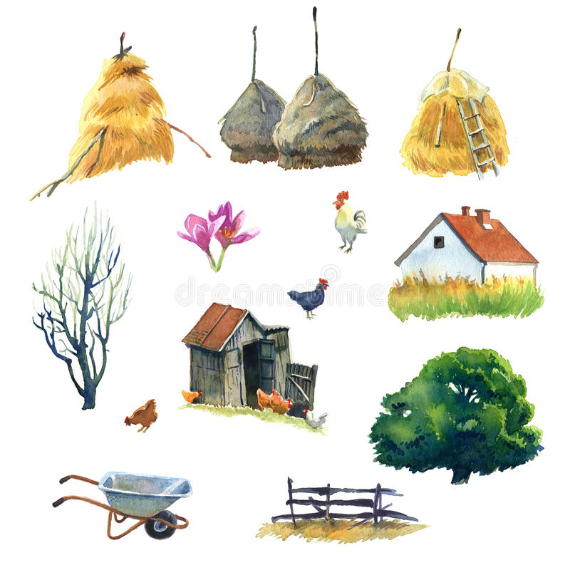 Country life. Set of watercolour pictures about life in country royalty free illustration